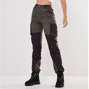 MISSGUIDED GRAY BLOCK KNEE TROUSERS